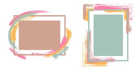 Stylish frames with paint brush strokes vector collection. Box borders with painted brushstrokes backgrounds. Advertising graphics design empty frame templates for banners, flyers, posters, cards. 向量圖像
