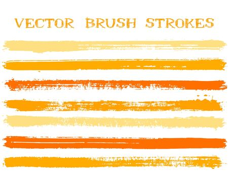 Colorful ink brush strokes isolated design elements. Set of paint lines. Creative Ink brushe stripes isolated on white, vector colors guide book samples.