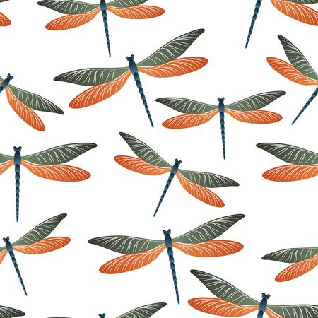 Dragonfly flat seamless pattern. Spring dress textile print with darning-needle insects. Flying water dragonfly vector background. Nature beings seamless. Damselflies with wings.