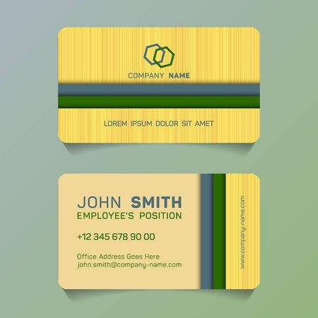 Horizontal business card papercut idea vector templates set. Simple business card graphic design with place for logo, company name, employees position, phone number, website and office address. 向量圖像