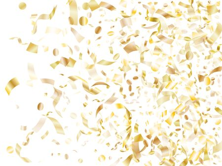 Gold shiny confetti flying on white holiday vector graphics. Rich flying tinsel elements, gold foil texture serpentine streamers confetti falling birthday background.