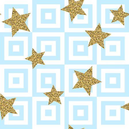 Gold glittering confetti stars seamless pattern. Gold stars vector background. Golden foil star confetti. Blue and white stripes. Christmas glitter design decoration. 向量圖像