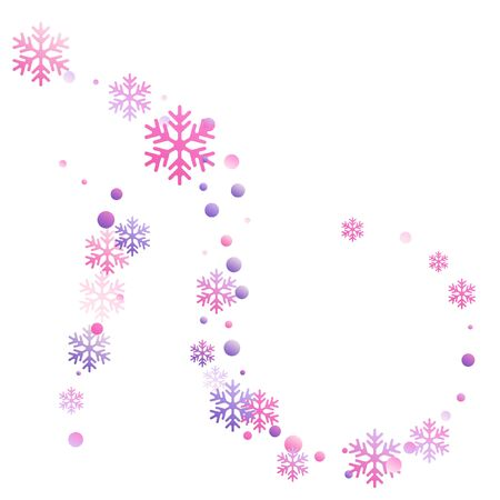 Crystal snowflake and circle shapes vector graphics. Windy winter snow confetti scatter banner background. Flying colorful gradient snow flakes background, winter water crystals vector. 向量圖像