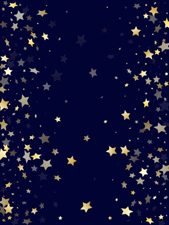 Gold gradient star dust sparkle vector background. Stylish gold star sparkles dust elements on dark blue night sky vector illustration. New Year starburst lights pattern. 向量圖像