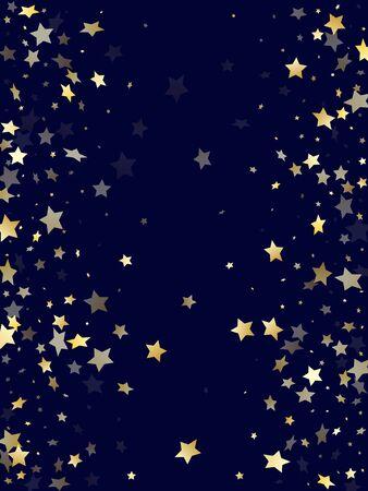 Gold gradient star dust sparkle vector background. Stylish gold star sparkles dust elements on dark blue night sky vector illustration. New Year starburst lights pattern. Illustration