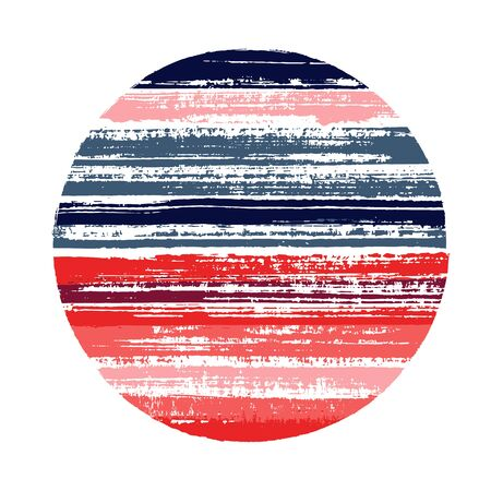 Modern circle vector geometric shape with striped texture of ink horizontal lines. Old paint texture disk. Emblem round shape circle logo element with grunge background of stripes. 向量圖像