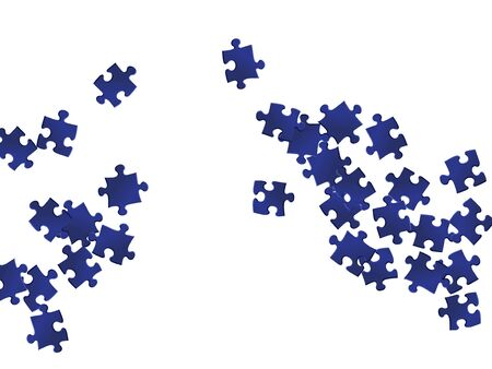 Business brainteaser jigsaw puzzle dark blue parts vector illustration. Group of puzzle pieces isolated on white. Teamwork abstract concept. Jigsaw match elements.