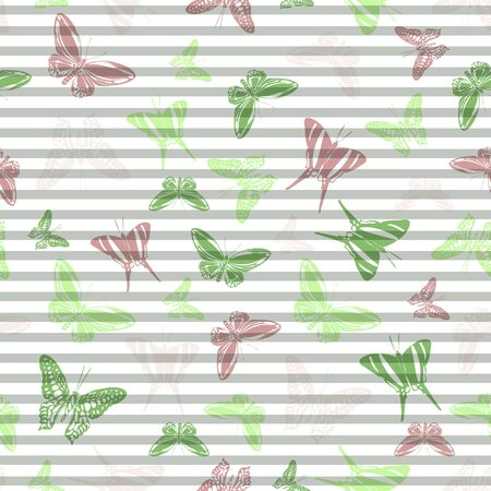 Flying flat butterfly silhouettes over horizontal stripes vector seamless pattern. Girlish fashion textile print design. Stripes and butterfly garden insect silhouettes seamless wallpaper. 向量圖像