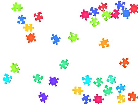 Business tickler jigsaw puzzle rainbow colors pieces vector background. Top view of puzzle pieces isolated on white. Teamwork abstract concept. Jigsaw match elements. 向量圖像