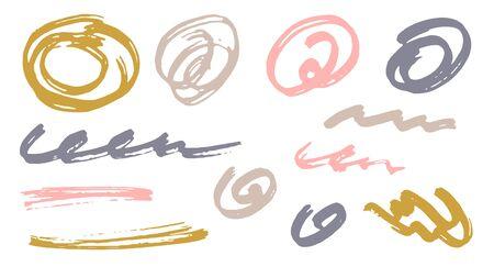 Croquis gribouillis doodle éléments vectoriels de conception graphique. Traces de marqueur de brouillon. Coups de pinceau, tourbillons ronds, lignes ondulées. Griffonner des rayures, esquisser des frottis de griffonnage. Graffiti dessins à main levée.