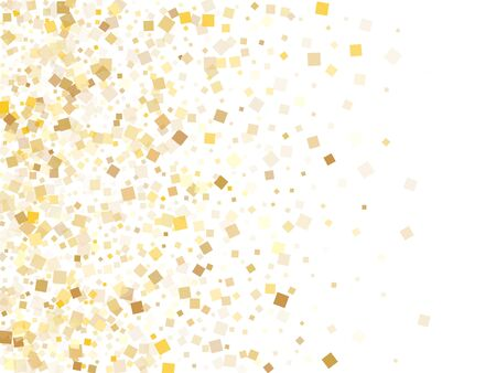 Abstract gold square confetti tinsels falling on white. VIP holiday vector sequins background. Gold foil confetti party glitter illustration. Light dust particles party background. Illustration