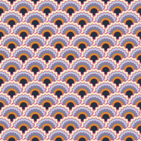 Vibrant mermaid scales squama background, vector seamless fabric pattern, tiled textile print. Classic chinese squama scales seamless arc tiles design. Fish skin pattern. 向量圖像