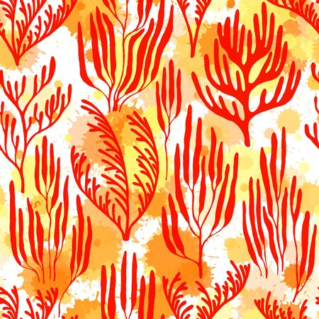 Coral polyps seamless pattern. Paint splashes drops watercolor background. Abstract Great Barrier Reef corals background. Aquarium water plants summer vector design. Organic botanical pattern. 向量圖像