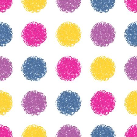 Polka dot doodle geometric vector seamless pattern. Textile fabric polka dot print, geometric background pattern with fluffy circles. Classic pattern seamless design