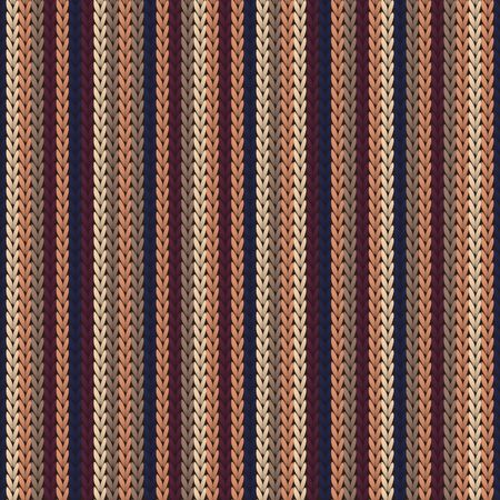 Material vertical stripes knitted texture geometric vector seamless. Jacquard knit tricot  fabric print. Traditional seamless knitted pattern. Cozy textile print design. 向量圖像