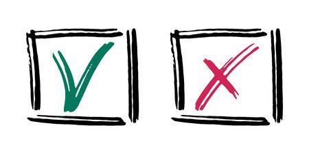 Cochez les icônes de coches vectorielles croisées. Conception de griffonnage de symboles de liste de contrôle fait. Coches abstraites oui et non vx. Confirmez et ignorez les graphiques conceptuels. Approuver et annuler les signes de décision.