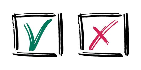 Tick cross vector check marks icons. Done checklist symbols scribble design. Abstract yes and no v x checkmarks. Confirm and ignore concept graphics. Approve and cancel decision signs.