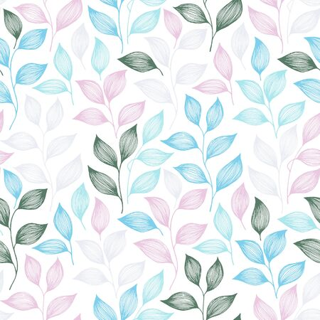 Packaging tea leaves pattern seamless vector. Minimal tea plant bush leaves floral textile print. Herbal sketchy seamless background pattern with nature elements. Flat summer foliage wallpaper.