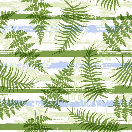 Modern new zealand fern frond and bracken grass overlapping stripes vector seamless pattern. South african forest foliage clothing fabric print. Stripes and tropical leaves illustration. 向量圖像