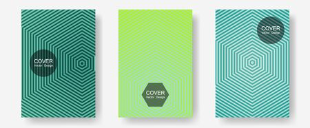 Banner graphics cool vector templates set. Vivid mockups samples. Halftone lines annual report templates. Simple book covers. Abstract banners graphic design with lined shapes. 向量圖像