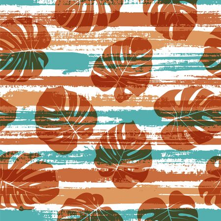 Cool monstera philodendron liana hole leaves over painted stripes seamless pattern design. South african exotic foliage swimwear textile print. Stripes and tropical leaves illustration. 向量圖像