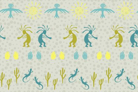 Ancient aztec or mayan american vector ethnic tribal motifs seamless pattern. Mythical design with gecko, Kokopelli fertility god, sun, bird, cacti. American indian elements modern pattern. Illustration