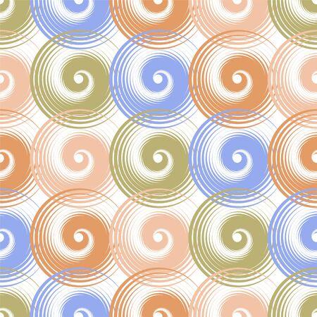Spiral swirls blue brown complicated seamless pattern vector design. Round spiral scrolls, circle swirls geometric elements, curly vortex tiles. Cute swirl scrolls abstract background seamless pattern. 向量圖像