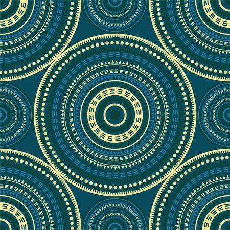 Gypsy ethnic motifs seamless pattern. Circle medallion mandala geometric tiles. Textile print template. Retro fashion pattern. Classic circular seamless ornament. Cute mandala design. 向量圖像