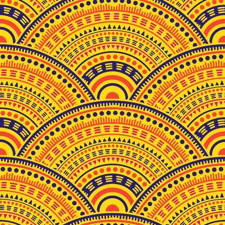 Mexican circular shapes textile ornament vector seamless pattern. Tribal motifs bohemian line art geometry. Native indian ethnic circle mandala elements seamless geometric pattern.