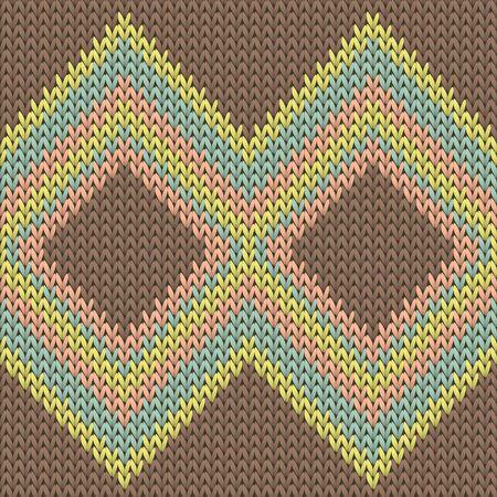 Closeup rhombus argyle knit texture geometric vector seamless. Carpet knitting pattern imitation. Nordic style seamless knitted pattern. Handicraft backdrop. 向量圖像