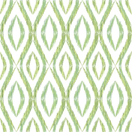 Ikat ogee seamless vector pattern illustration. Ethnic fabric print geometric ikat pattern. Ogee seamless repeating background. Tribal motifs ikat textile print design. Fashion ornament.