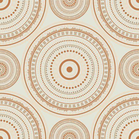 Chinese ethnic motifs seamless pattern. Circle medallion mandala abstract tiles. Textile print template. Fashion or interior pattern. Trendy circular seamless ornament. Henna mandala design.