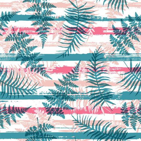 Cute new zealand fern frond and bracken grass overlapping stripes vector seamless pattern. Madagascar jungle foliage swimwear textile print. Tropical leaves and stripes seamless. 向量圖像