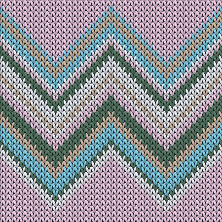 Fashionable zig zal lines knitting texture geometric vector seamless. Fair isle sweater knitting pattern imitation. Winter seamless knitted pattern. Winter holidays wallpaper. 向量圖像