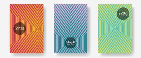 Cool flyers set, vector halftone poster backgrounds. Music album adverts. Halftone lines annual report templates. Minimalist geometry. Geometric lines shapes patterns set for flyer design.