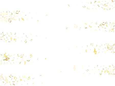 Gold flying musical notes isolated on white backdrop. Cute musical notation symphony signs, notes for sound and tune music. Vector symbols for melody recording, prints and back layers.