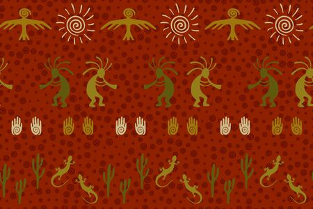 Ancient aztec or mayan american vector ethnic tribal motifs seamless pattern. Folk design with trickster god, swirl icons on human palm, sun, eagle. American indian art abstract pattern.