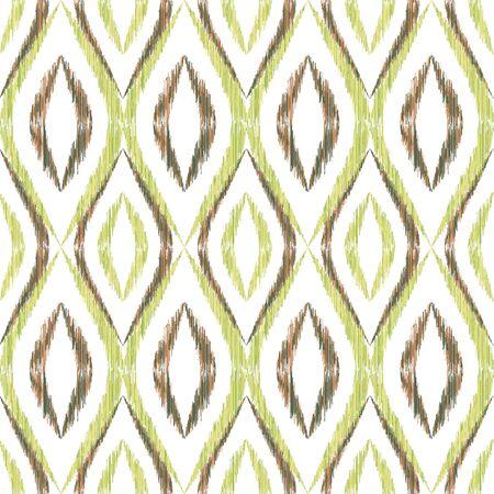 Ikat ogee seamless vector pattern illustration. Ethnic fabric print geometric ikat pattern. Cool ogee seamless repeating background. Ethnic motifs ikat textile print design. Fashion ornament. 向量圖像