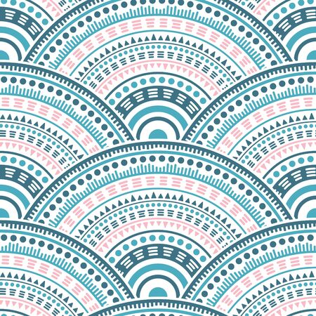Mexican concentric elements tile design vector seamless pattern. Ethnic motifs wavy line art geometry. Native indian folk medallion concentric shapes seamless geometric pattern.