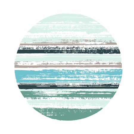 Circle vector geometric shape with striped texture of watercolor horizontal lines. Disk banner with old paint texture. Badge round shape circle logo element with grunge background of stripes. 向量圖像
