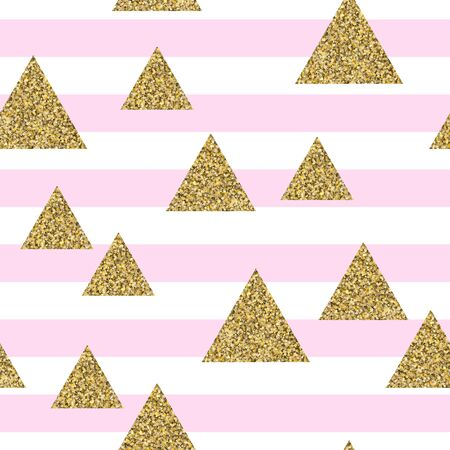 Gold glitter triangle confetti on geometric seamless pattern. Background of golden of triangles, vector shiny design for textile, wallpaper, wrapping paper.