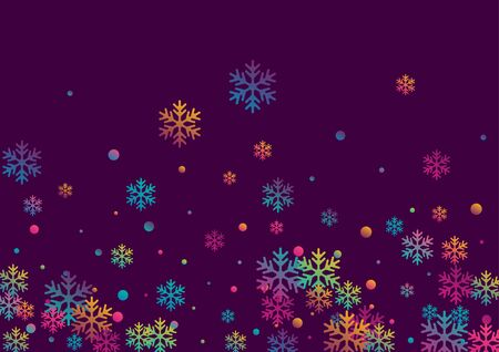 Crystal snowflake and circle shapes vector backdrop. Magic winter snow confetti scatter poster background. Flying colorful gradient snow flakes background, trendy water crystals vector.