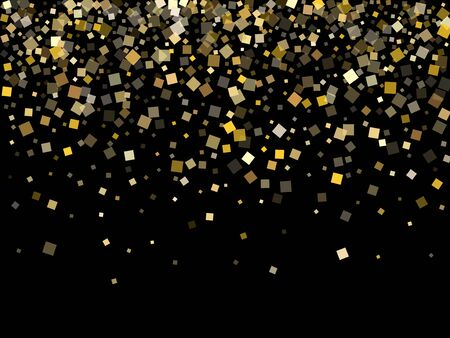 Stylish gold confetti sequins tinsels scatter on black. Luxurious holiday vector sequins background. Gold foil confetti party explosion isolated. Light dust sparkles surprise backdrop.