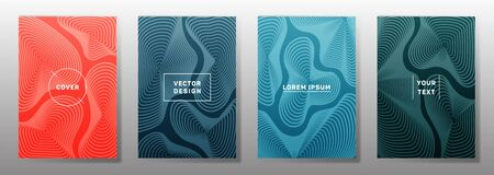 Flat covers linear design. Fluid curve shapes geometric lines patterns. Gradient backgrounds for notepads, notice paper covers. Line stripes graphics, title elements. Cover page layouts set.