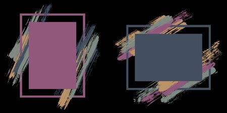 Trendy frames with paint brush strokes vector collection. Box borders with painted brushstrokes on black. Educational graphics design flat frame templates for banners, flyers, posters, cards.
