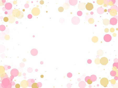 Rose gold confetti circle decoration for wedding invitation card. Birthday vector illustration. Gold, pink and rose color round confetti dots, circles chaotic scatter. Trendy airy bokeh background. Illustration