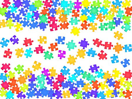 Abstract brainteaser jigsaw puzzle rainbow colors parts vector illustration. Scatter of puzzle pieces isolated on white. Problem solving abstract concept. Jigsaw pieces clip art.