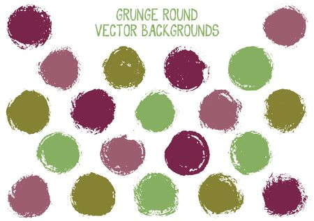 Vector grunge circles design. Creative stamp texture circle scratched label backgrounds. Circular tag, chalk logo shape, round button elements. Grunge round shape banner backgrounds set.