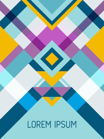 Cover page layout vector template geometric design with triangles and stripes pattern for business purposes. Ethnic brazilian motifs. Striped bauhaus pattern vector cover design. Trendy geometry. 向量圖像