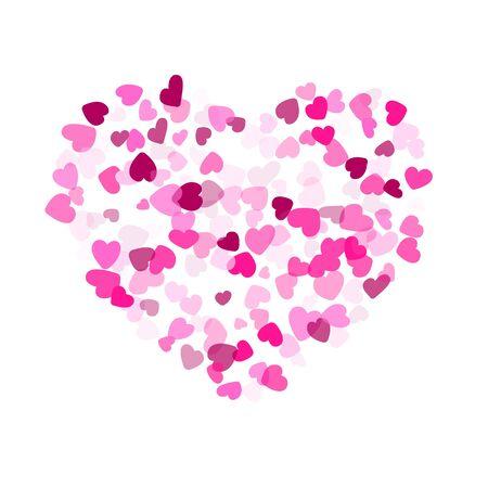 Crimson hearts confetti love emotion vector background. Retro falling hearts scatter illustration. Love concert holiday banner graphic design.